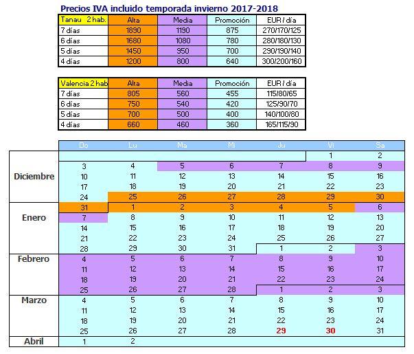 calendarios de reserva para alquiler en Baqueira